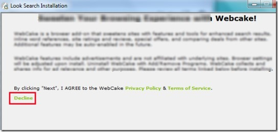 Look Search- decline installation of webcake