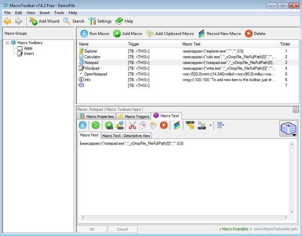 MacroToolbar default window