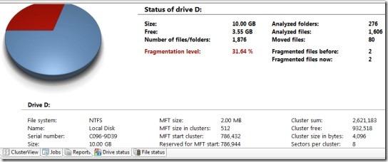 O&O Defrag- drive status