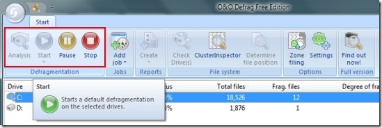 O&O Defrag- main interface's top section