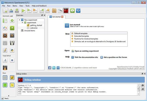 OpenSesame default window