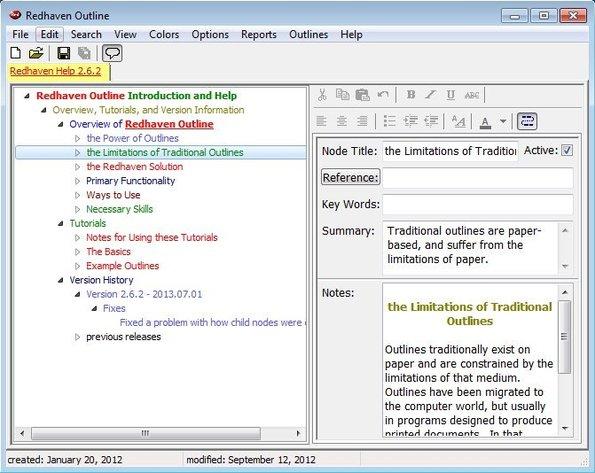 Redhaven Outline default window