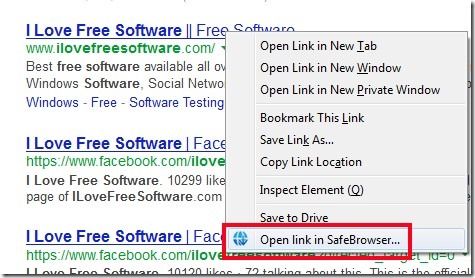 SafeBrowser- right-click option
