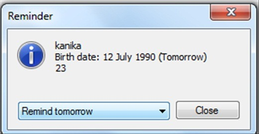 SE-BirthdaysCalendar - Free reminder software - Reminder