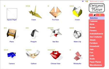 Origami player interface