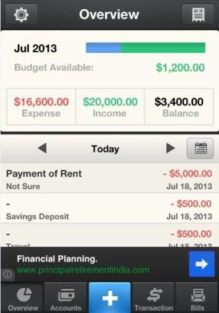 Pocket Expense-Homepage