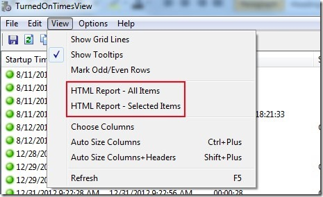 TurnedOnTimeView- create HTML report