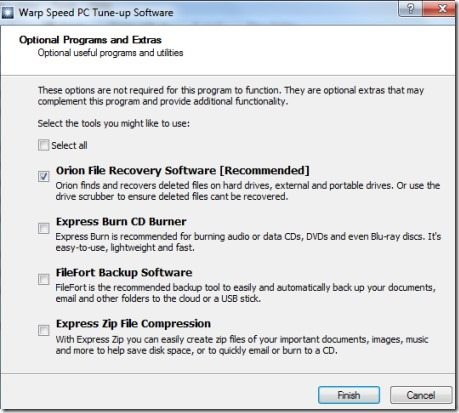 Warp Speed PC Tune-up software- extra tools
