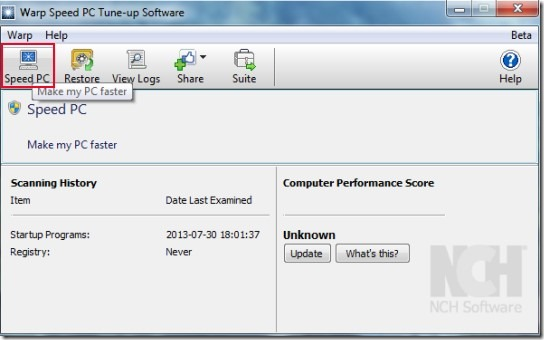 Warp Speed PC Tune-up software- interface 00 speed up pc for free