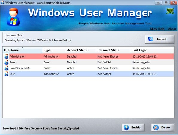 Windows User Manager default window