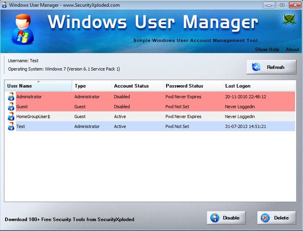 Windows User Manager disable users