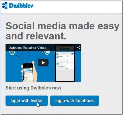Dwibbles Welcome page