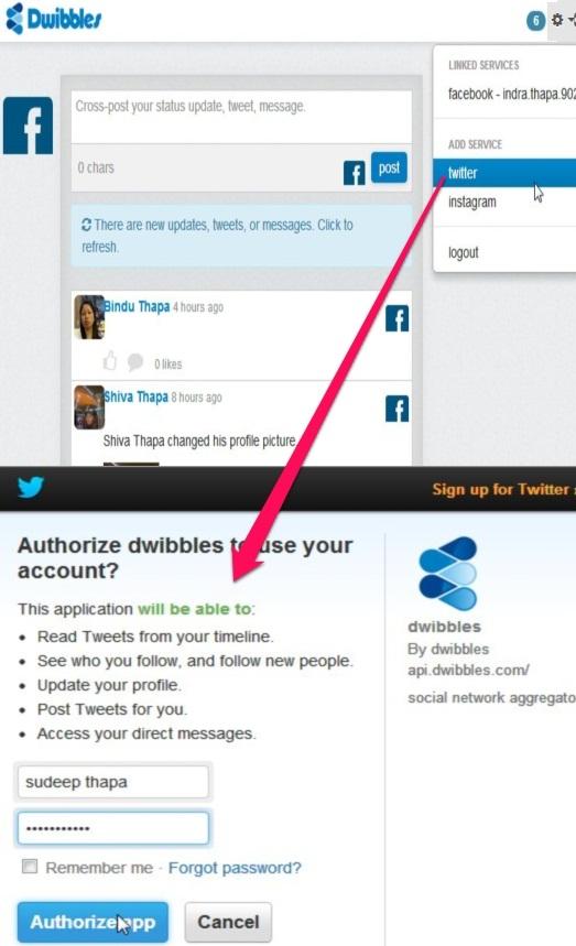 Dwibbles: linking accounts