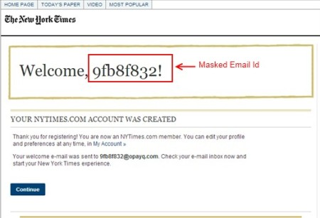 masked email id