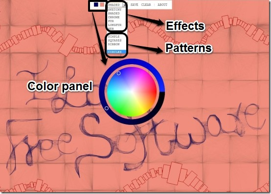 sketch wizard effects and color panel