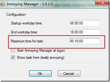 Annoying Manager- configure window