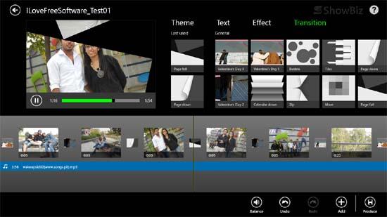 ArcSoft ShowBiz - Movie Editor Screen