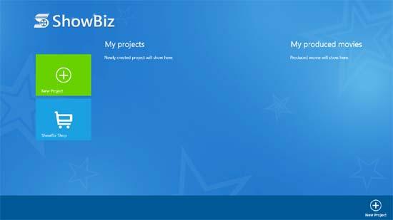 ArcSoft ShowBiz - Start Screen