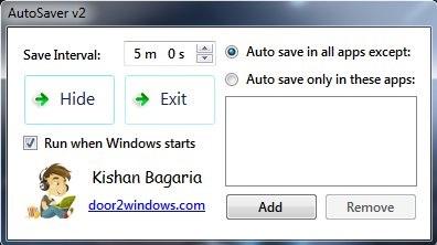 AutoSaver - Interface