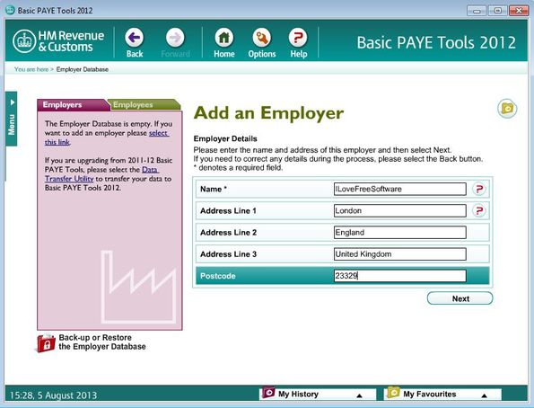 Basic PAYE Tools adding employer