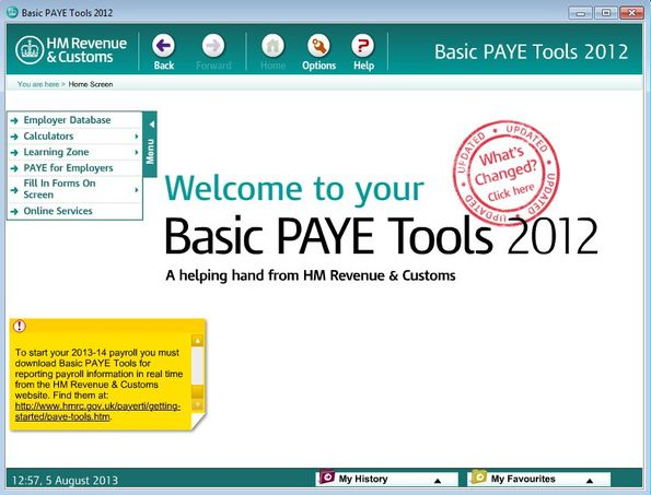 Basic PAYE Tools default window