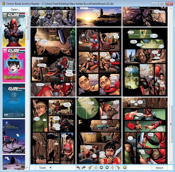 Comic Book Archive Reader page overview