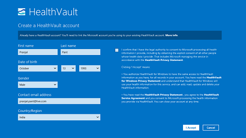 Create HealthVault Account