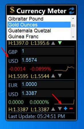 Currency Meter selecting currencies