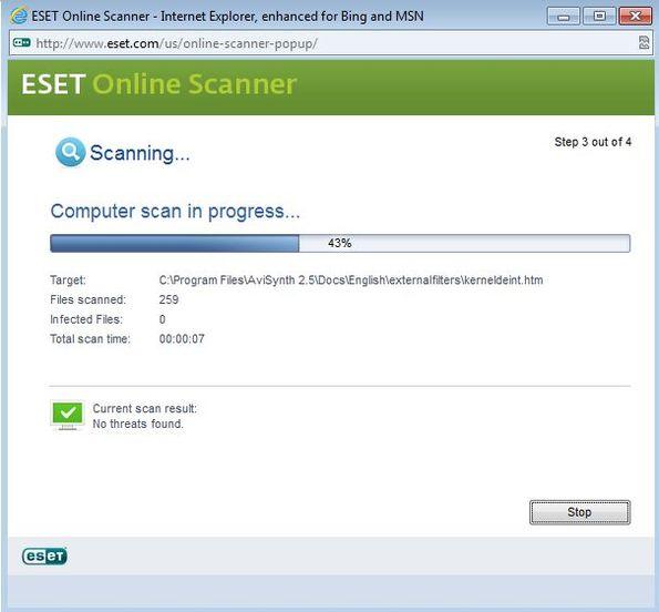 ESET Online Scanner scanning