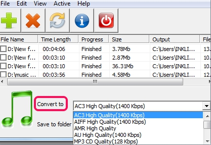 ESFSoft Audio Converter- select output format