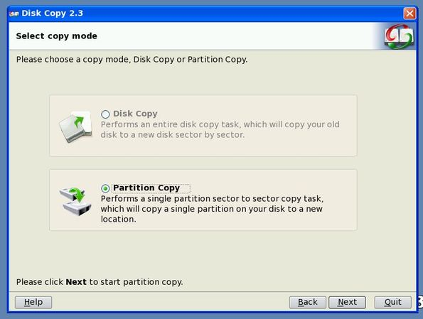 EaseUS Disk Copy Home Edition working wizard
