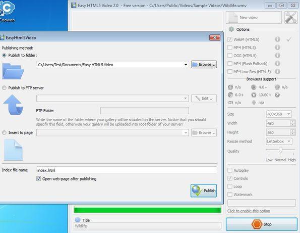 Easy HTML5 Video settings convert publishing