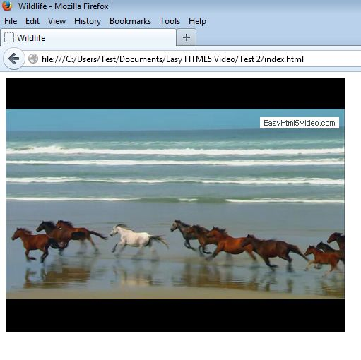 Easy HTML5 converted video player playing