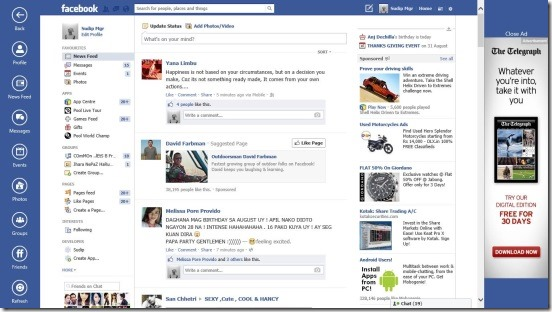 Facebook Browser - news feeds