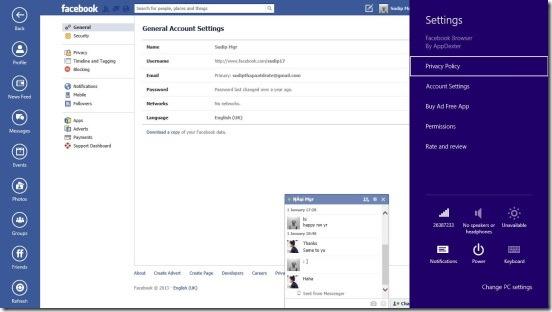 Facebook Browser - settings