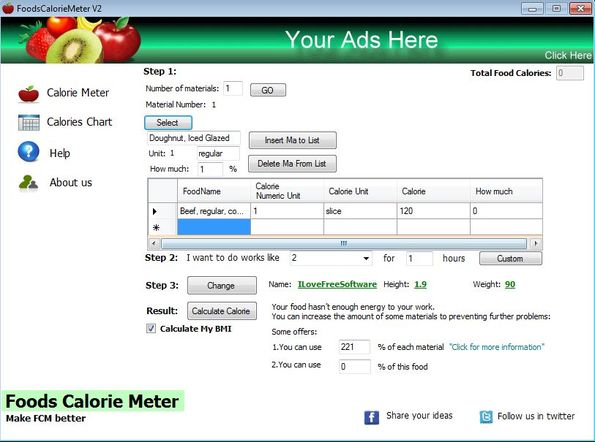 Foods Calorie Meter - Interface