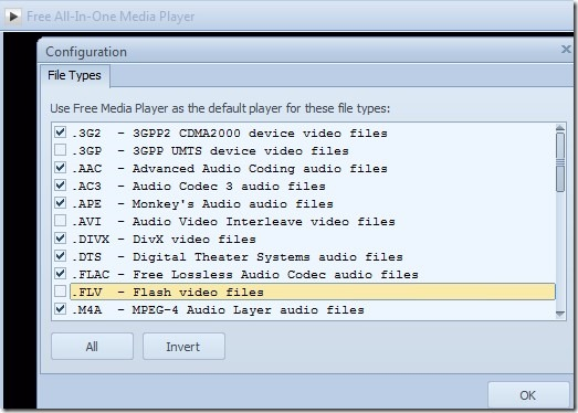 Free All-In-One Media Player- select file types