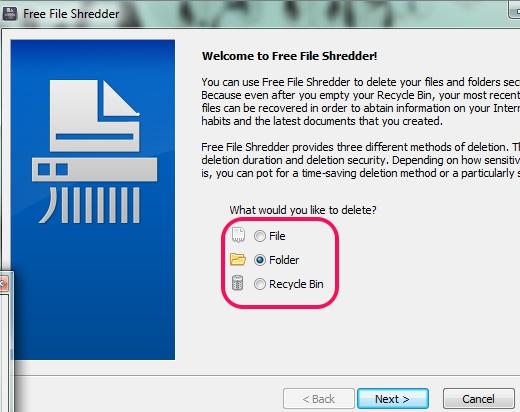 Free File Shredder- interface