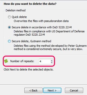 Free File Shredder- select deletion mehtod to delete files