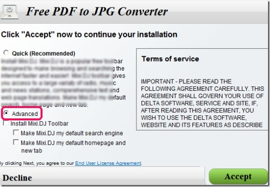 Free PDF to JPG- installation process