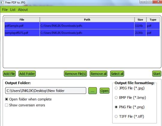 Free PDF to JPG- interface