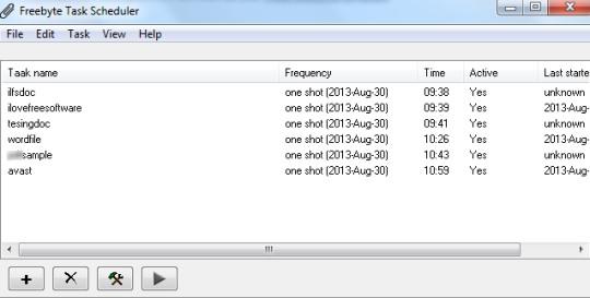 Freebyte Task Scheduler- interface