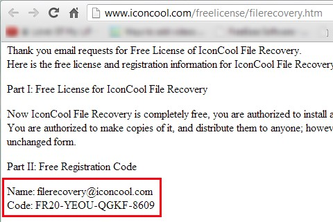 IconCool File Recovery- free registration