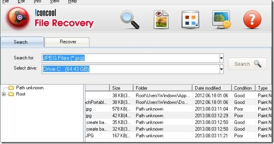 IconCool File Recovery- interface