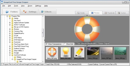 ImageCool Free Image Cropper - Interface