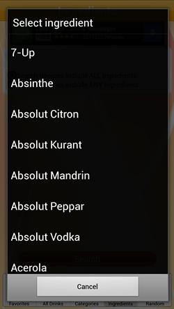 Ingredient selection