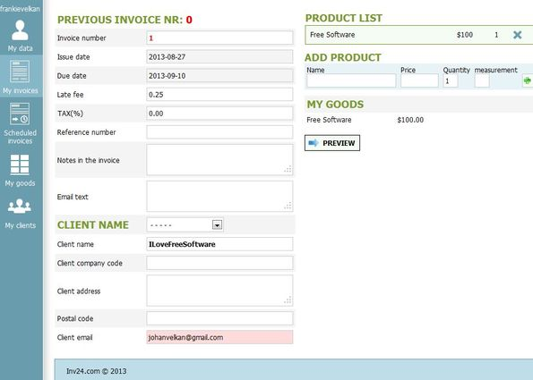Inv24 creating invoice