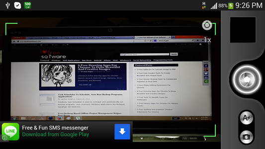 Main screen of the camera app