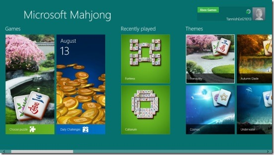 Microsoft Mahjong- main screen
