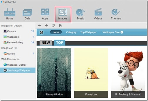 Moborobo- images tab